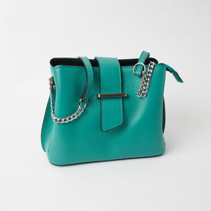 Ferrara Teal Italian Leather Cross Body Bag Solo Perché Bags
