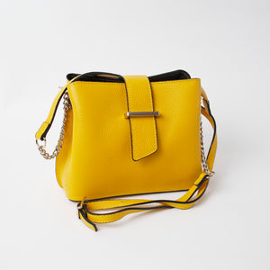 Ferrara Yellow Italian Leather Cross Body Bag Solo Perché Bags