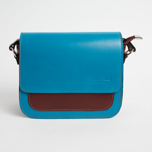 Montalbino Blue Brown Italian Leather Cross Body Bag Solo Perché Bags