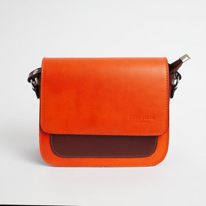Montalbino Orange Brown Italian Leather Cross Body Bag Solo Perché Bags