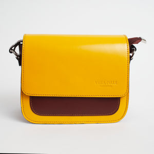 Montalbino Yellow Brown Italian Leather Cross Body Bag Solo Perché Bags