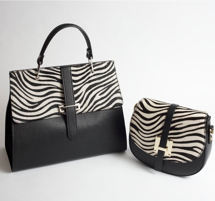 Palermo Black White Print Italian Leather Handbag Solo Perché Bags