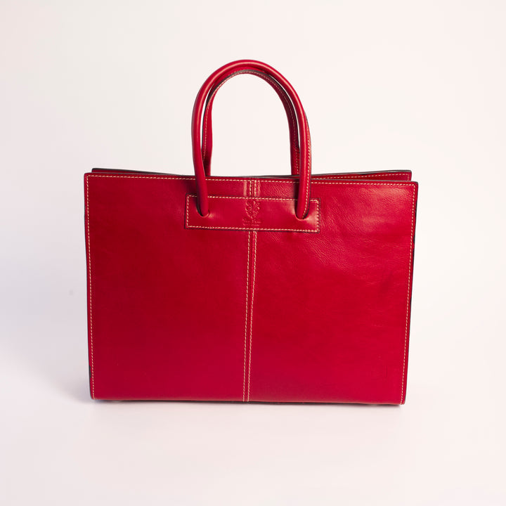 Poppi Red Italian Leather Shoulder Tote Solo Perché Bags