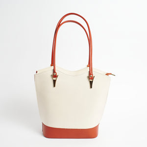 Radda Cream Tan Italian Leather Shoulder Backpack Solo Perché Bags