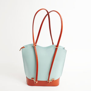 Radda Light Blue Tan Italian Leather Shoulder Backpack Solo Perché Bags