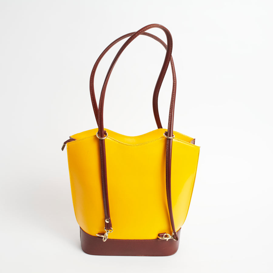Radda Yellow Brown Italian Leather Shoulder Backpack Solo Perché Bags