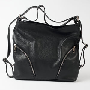 Ravenna Black Italian Leather Shoulder Backpack Solo Perché Bags