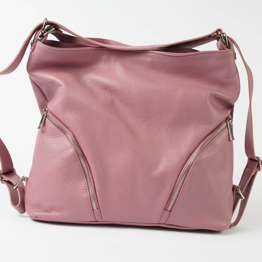 Ravenna Mauve Italian Leather Shoulder Backpack Solo Perché Bags
