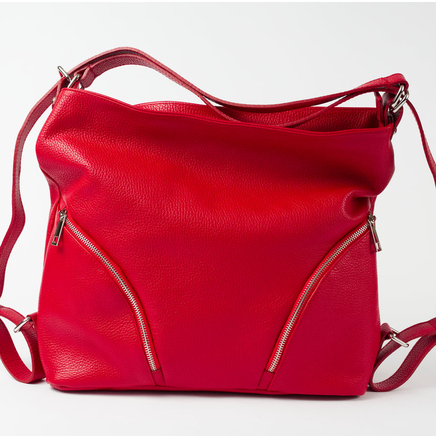 Ravenna Red Italian Leather Shoulder Backpack Solo Perché Bags