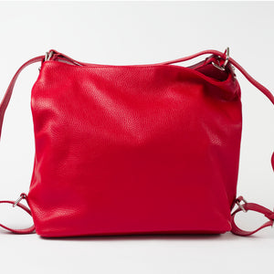 Ravenna Red Italian Leather Shoulder Backpack Solo Perché Bags.