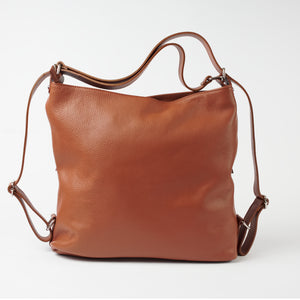 Ravenna Tan Italian Leather Shoulder Backpack Solo Perché Bags.