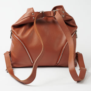 Ravenna Tan Italian Leather Shoulder Backpack Solo Perché Bags
