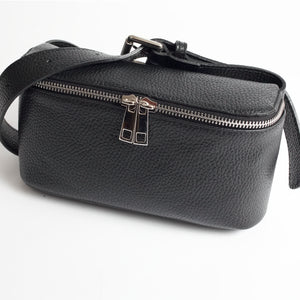 Roma Black Italian Leather Belt Bag Solo Perché Bags