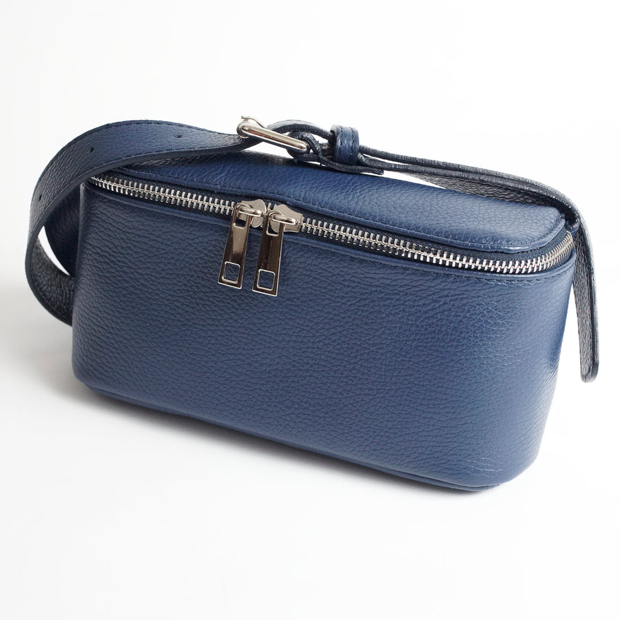 Roma Navy Italian Leather Belt Bag Solo Perché Bags