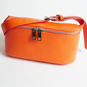 Roma Orange Italian Leather Belt Bag Solo Perché Bags
