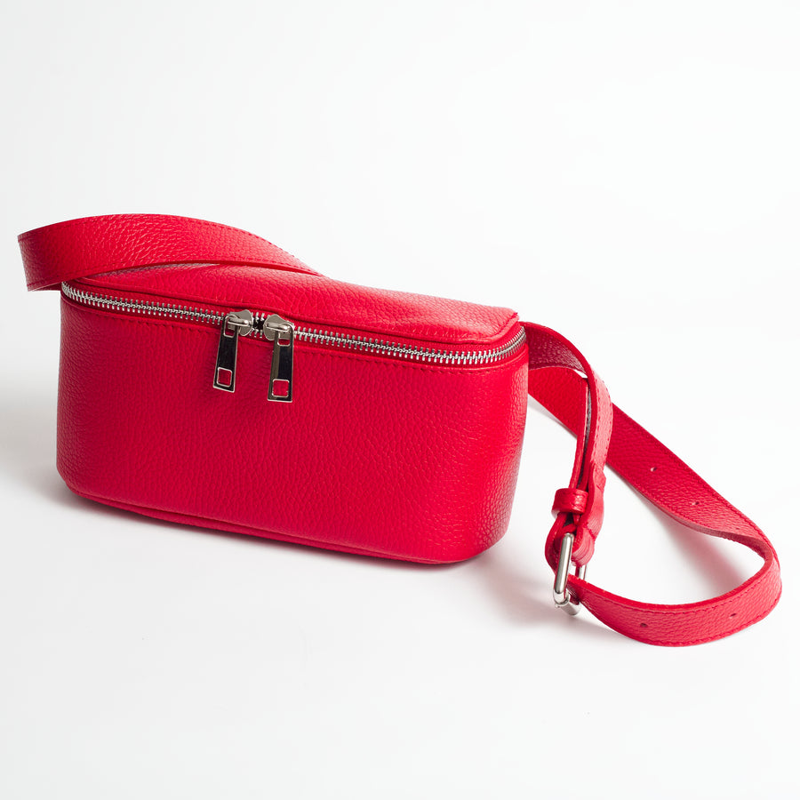 Roma Red Italian Leather Belt Bag Solo Perché Bags