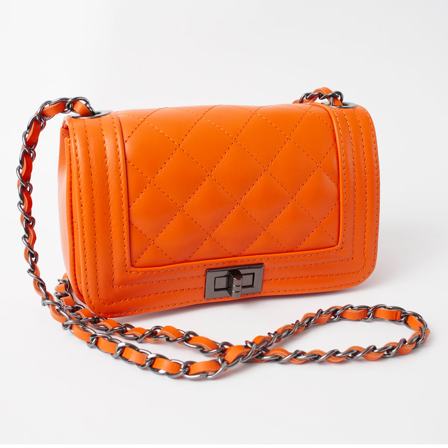 Salerno Orange Italian Leather Cross Body Bag Solo Perché Bags