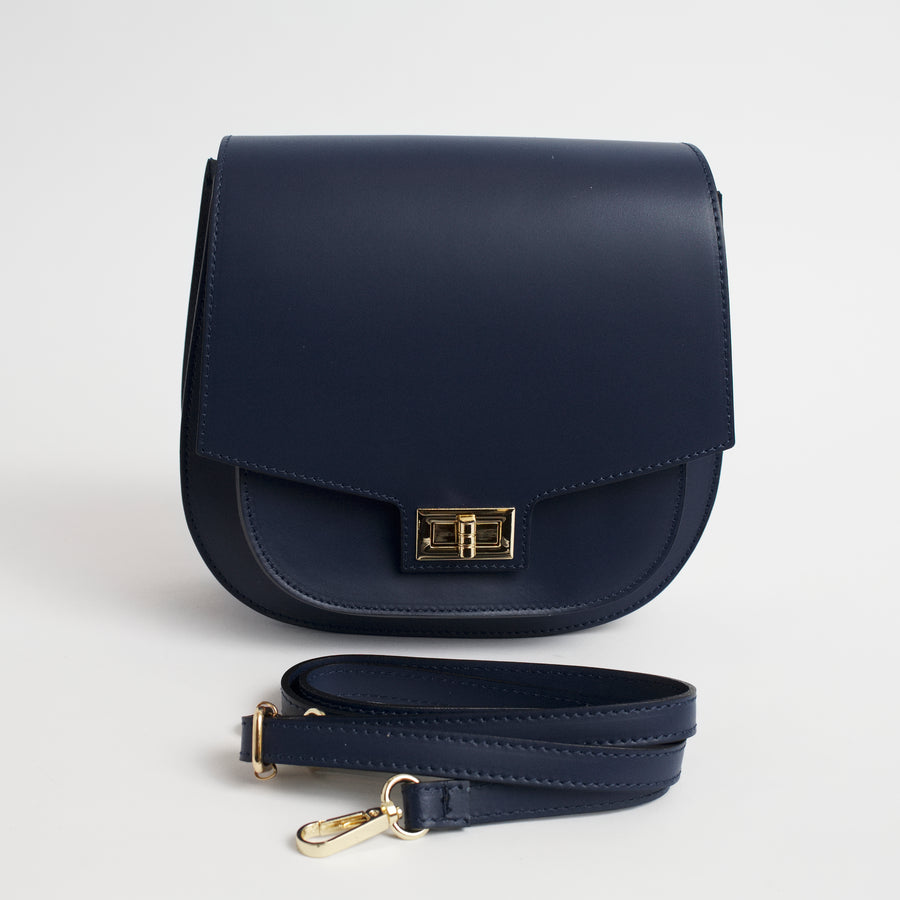 Turino Navy Italian Leather Cross Body Bag Solo Perché Bags