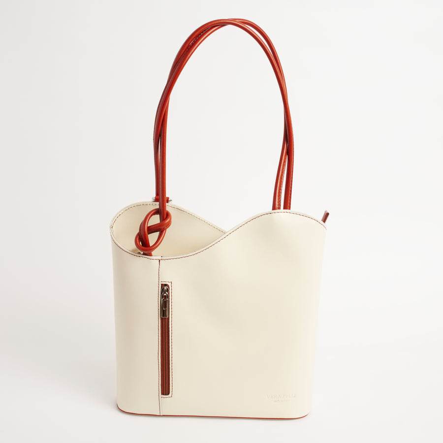 Varese Cream Tan Italian Leather Shoulder Backpack Solo Perché Bags