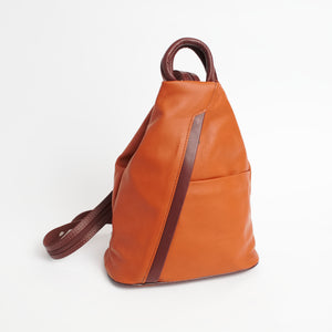 Vernazzo Tan Brown Italian Leather Shoulder Backpack Solo Perché Bags