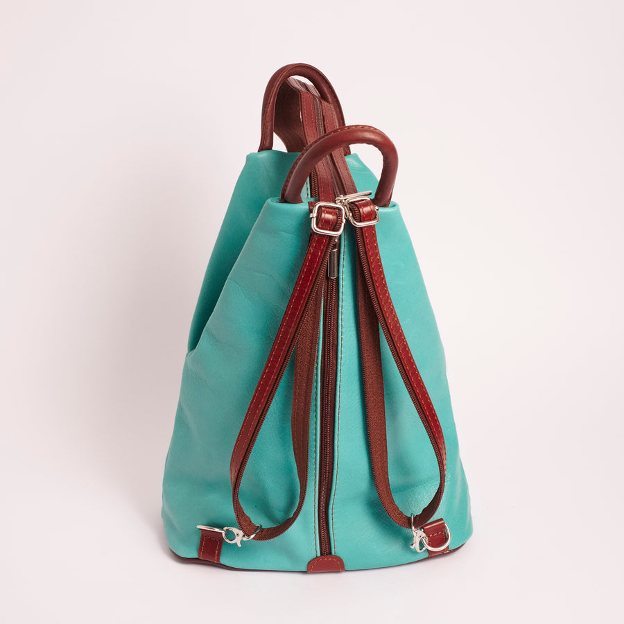 Vernazzo Teal Brown Italian Leather Shoulder Backpack Solo Perché Bags.