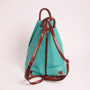 Vernazzo Teal Brown Italian Leather Shoulder Backpack Solo Perché Bags