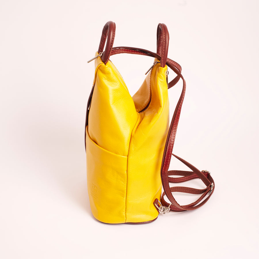 Vernazzo Yellow Brown Italian Leather Shoulder Backpack Solo Perché Bags