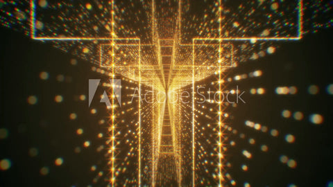 Modern Gold Particle Holy Cross Tunnel Looping Background