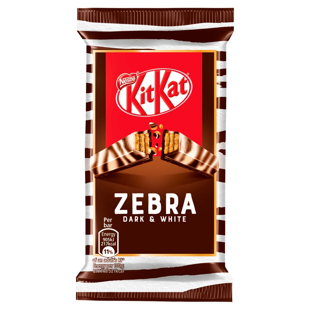 Kit Kat 4 Finger Zebra Dark + White Chocolate Bar, 41.5gm