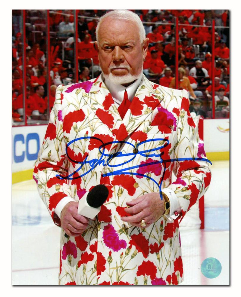 Don Cherry Autographed On Ice in Carnation Suit 8x10 Photo Framed