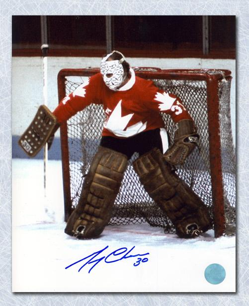 Gerry Cheevers Team Canada Autographed 1976 Canada Cup Goalie 8x10 Photo