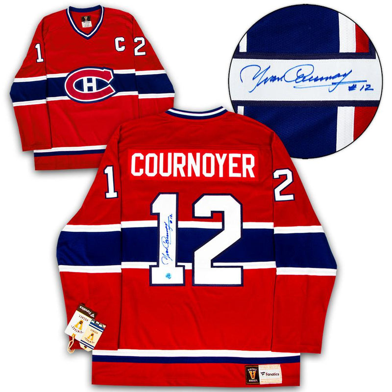 Yvan Cournoyer Montreal Canadiens Autographed Fanatics Vintage Hockey Jersey