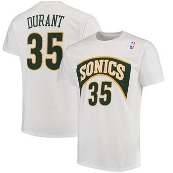 Seattle Supersonics Kevin Durant Name & Number T-Shirt