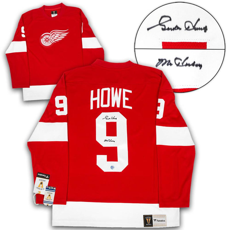 Gordie Howe Detroit Red Wings Autographed Fanatics Vintage Hockey Jersey with Mr. Hockey Note
