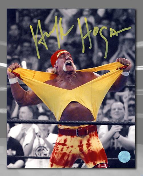 Hulk Hogan WWE Autographed Hulkamania Spotlight Wrestling 8x10 Photo Framed