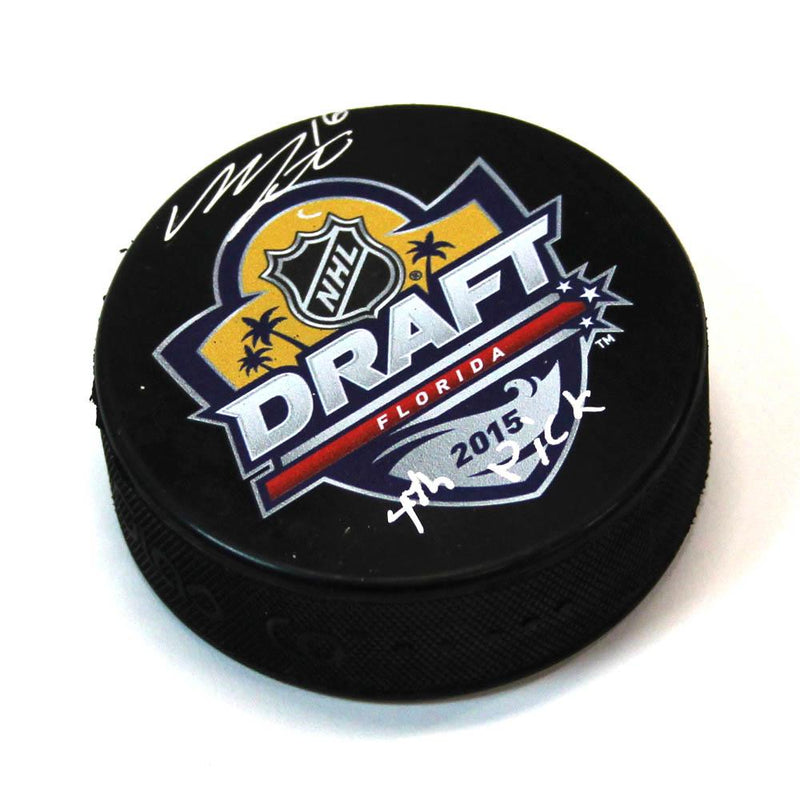 Mitch Marner 2015 NHL Draft Day Puck Autographed w/ 4th Pick Inscription