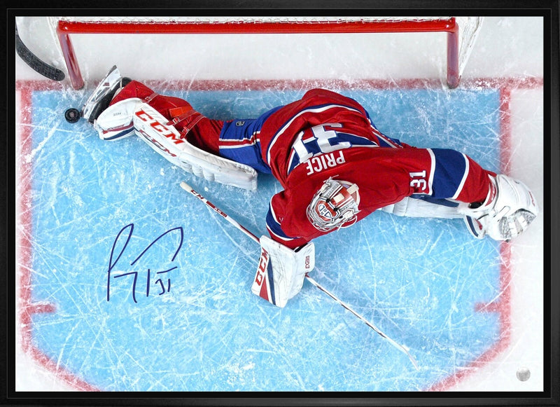 Montreal Canadiens Carey Price Signed 20x29 Framed Toe Save Canvas