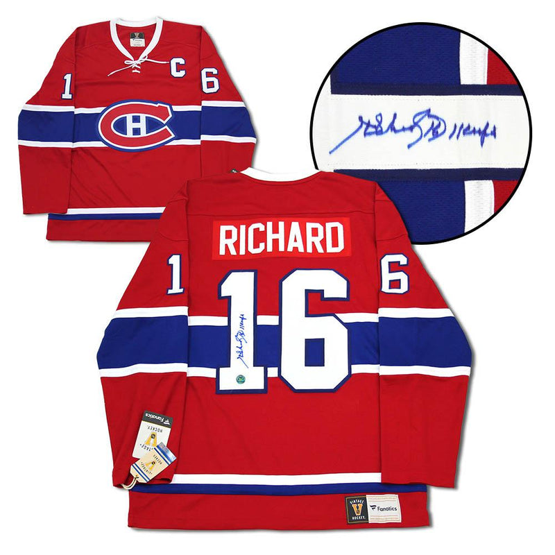Henri Richard Montreal Canadiens Signed 11 Cups Fanatics Vintage Hockey Jersey