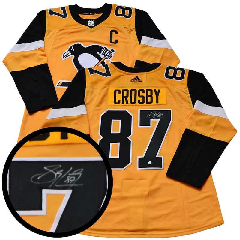 Pittsburgh Penguins Sidney Crosby Signed Yellow Jersey