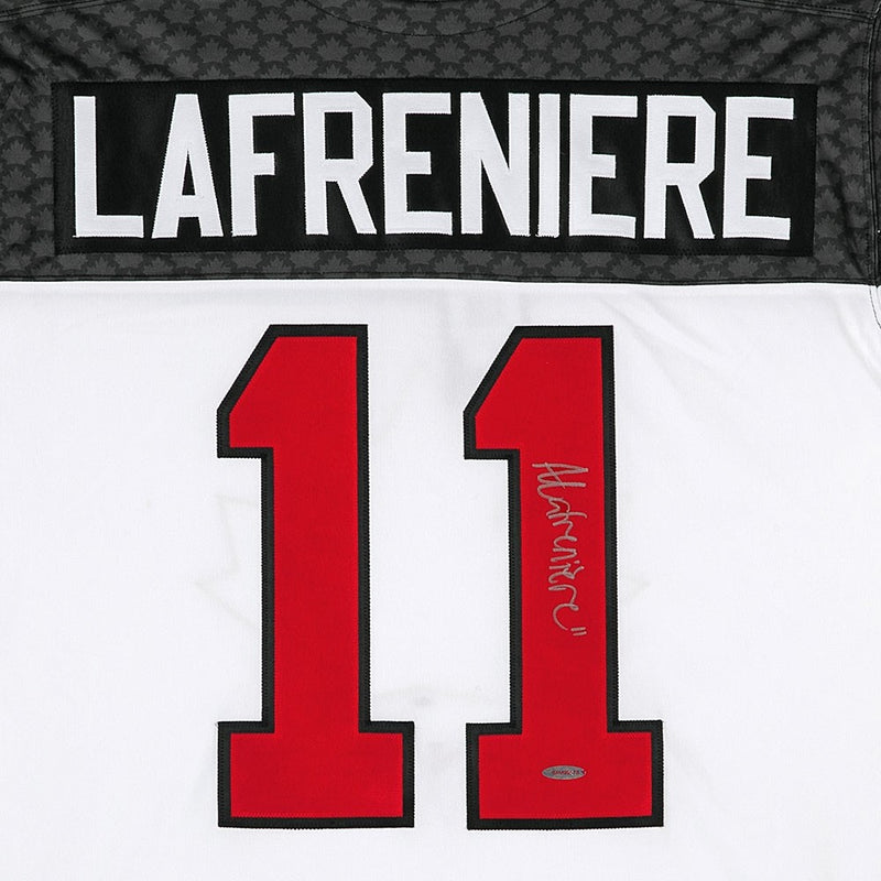Alexis Lafreniere White Team Canada Nike Signed Jersey with COA