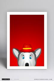 Calgary Flames Harvey the Hound Minimalist 11 x 17 Print