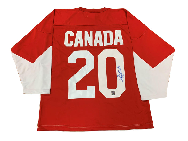 Team Canada Peter Mahovlich Signed 1972 Home Jersey
