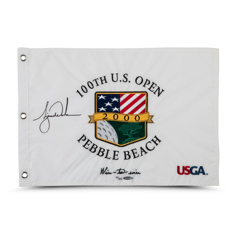Tiger Woods Signed 100th US Open Pin Flag