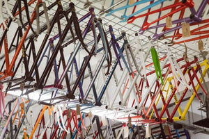 Our vast collection of classic & vintage steel frames, on the ceiling of The Hackney Peddler store in Stoke Newington, London.