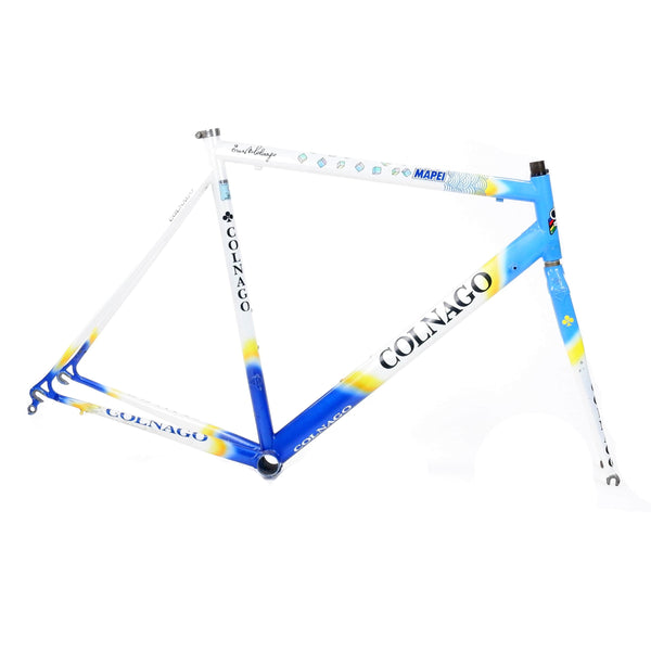 A Colnago Mapei Team frame, in blue and white, from the drive side