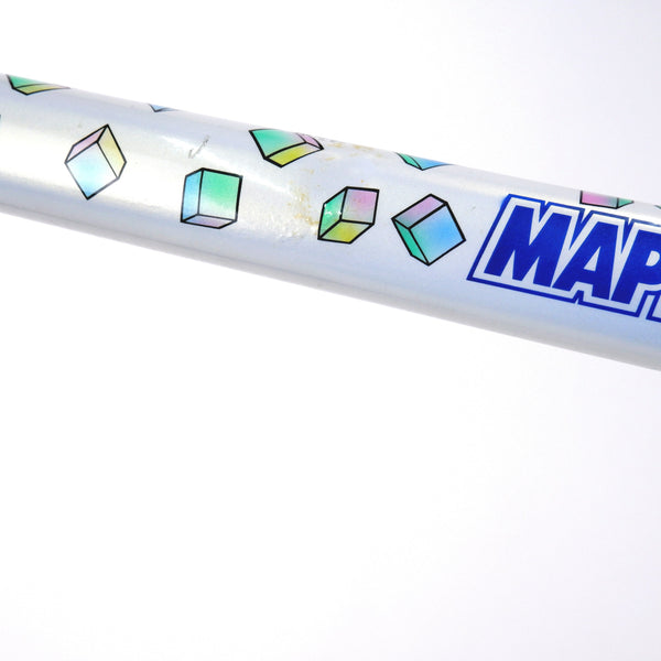 A Colnago Mapei Team frame, in blue and white, from the top tube zoomed in