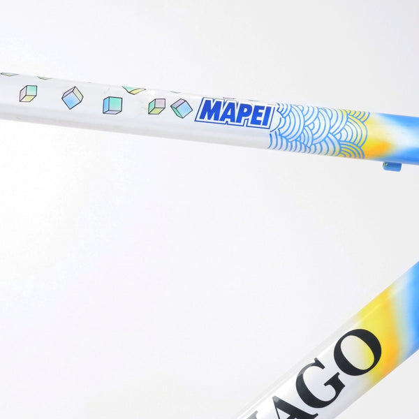 A Colnago Mapei Team frame, in blue and white, up close shot of the top tube and down tube second angle