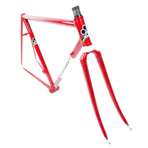 Colnago Super red and white frame head tube and forks