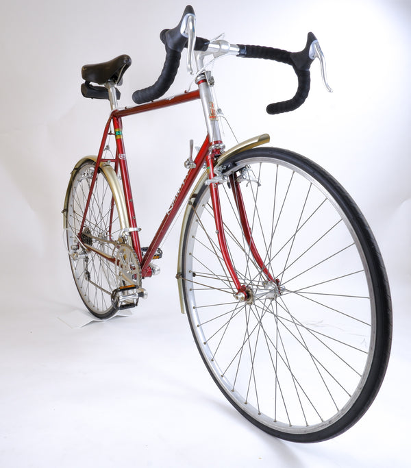 Raleigh Royal Red 58cm driveside side profile.
