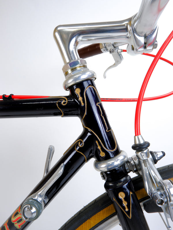 Closeup of handcut lugs and downtube shifters.